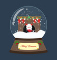 christmas snow globe with fireplace with santa vector image vector image