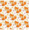 Cute background with cartoon fox and flowers vector image