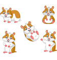 cute cartoon hamsters collection set vector image vector image