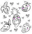 cute fruit hand draw doodles vector image vector image