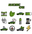 Electric car flat icon set vector image vector image