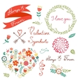 Elegant floral graphic elements vector image vector image