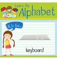 Flashcard letter K is for keyboard vector image vector image