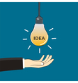 hand and idea light bulb vector image