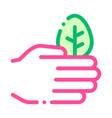 hand care wood leaves tree thin line icon vector image
