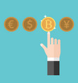 hand choosing shining bitcoin vector image vector image