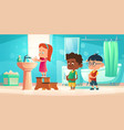 kids wash hands in bathroom children hygiene vector image