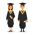 man and woman graduates vector image vector image