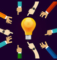 many hands working together for an idea a bulb vector image vector image