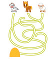 maze game for children cow sheep horse and vector image vector image