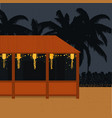 night cafe on beach with palm trees vector image vector image