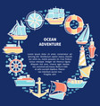 ocean adventure round concept with ship icons in vector image vector image
