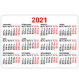 pocket calendar 2021 grid template isolated vector image vector image