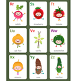 Printable flashcard English alphabet from R to Z vector image vector image