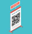 qr code scanning via mobile phone application vector image