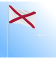realistic flag of alabama usa against blue sky vector image vector image