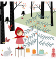 red hood girl in the spring forest vector image vector image