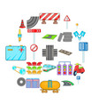road surface icons set cartoon style vector image vector image
