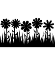 Seamless silhouette grass and flowers vector image