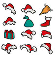 set hats sack bell gift boot for santa claus vector image vector image