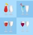 set refreshing cocktails empty transparent glasses vector image vector image