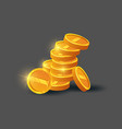stack of shiny golden coins icon vector image vector image