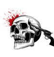 suicide skull with gun and blood vector image vector image