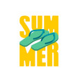 summer and slippers lettering sea shoes typography vector image vector image