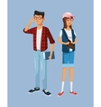 teens girl and boy students book glasses bag vector image vector image