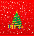 the christmas greeting card tree and presents vector image vector image