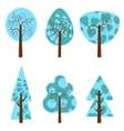 Winter trees collection vector image vector image