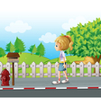 A lady walking in the street alone vector image vector image