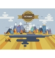 Autumn landscape Small town vector image vector image