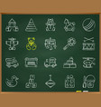batoy chalk draw line icons set vector image