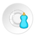 Blue bottle of dish soap and clean plate icon vector image vector image