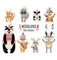 boho animals cute cartoon woodland raccoon fox vector image vector image