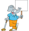 cartoon elephant golfer leaning on a golf club whi vector image vector image