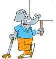 cartoon elephant golfer leaning on a golf club whi vector image