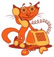 cartoon phone cat vector image vector image