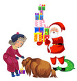 cartoon santa claus in red suit holding presents vector image vector image