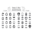 Collection of 32 monochrome flat user icons vector image