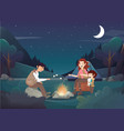 cozy family camping in the night vector image vector image