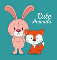 cute and little rabbit and fox character vector image vector image