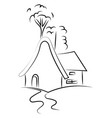 drawing a house on white background vector image vector image