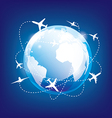 earth and airplane vector image vector image