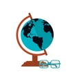 earth globe and glasses icon vector image vector image