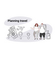 fat obese man woman travelers standing together vector image vector image
