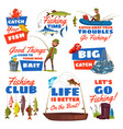 fishing sport icon with fisherman and fish catch vector image vector image
