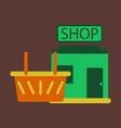 flat icon shop basket vector image vector image