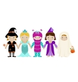 Group of girls in halloween costumes vector image vector image